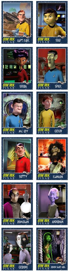 If Pixar Made The Original Star Trek Characters. // NOTE: the artist is actually colorblind so don't get upset about Sulu's skin color (read more here: http://minionfactory.blogspot.co.uk/2013/02/pixar-damage-control.html)