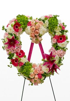 Pink, White and Green Heart Funeral Floral Arrangement