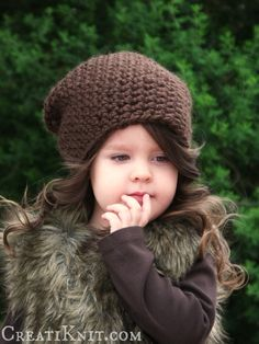 ~The Chestnut Slouchy Crochet Pattern -  Rich texture & stylish simplicity blend throughout this warm slouchy pattern, keeping children comfy & toasty for their frosty, woodland adventures!