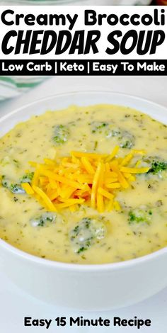 This Easy Keto Broccoli Cheddar Soup is a delicious low carb soup recipe that's filling enough for lunch or dinner! Low Carb Soup Recipes, Ketogenic Recipes, Diet Recipes, Ketogenic Diet, Ketogenic Breakfast, Shake Recipes, Healthy Sweet Snacks, Easy Healthy Recipes, Easy Meals