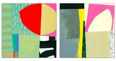 """Jane Davies, 8""""x8"""" each, acrylic and collage on panel"""