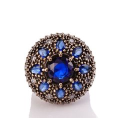 The Zerbap Beria Ring with Zircon Sapphire Stones by Rosestyle, $54.50