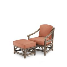 Club Chair #1174 & Ottoman #1173 in Natural Finish (on Bark)