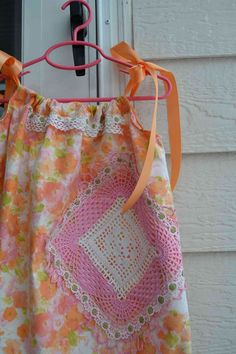 Spring Time 21 by gicreazioni on Etsy - doily embellished pillowcase dress for girls tunic for teens, orange white pink, Spring fashion.