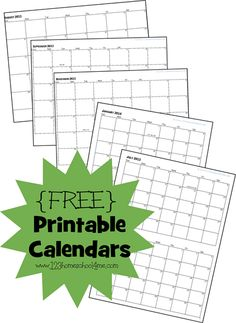 FREE Printable Calendars - contains month at a glance and 2 month at a glance.  Perfect for organizing your #homeschool #preschool or #kidsactivities