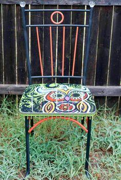 hand painted owl chair retro style hippie chair by TrashybyAlisha