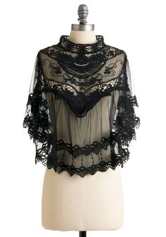 #modcloth #styleicon Stevie Nicks would definitely rock this Photographic Flashback Cape at a show or a photoshoot over one of her gypsy dresses. The Victorian feel to this plays into her witchy wardrobe.