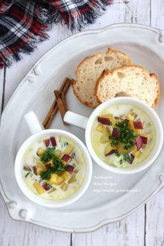 ほくっと、ねっとりと甘いさつまいもが美味しい時期。シンプルにミルクで煮てスープにしました。ゴロゴロしたさつまいもとシナモンを少し香らせて、塩で味付けした優しいスープです。