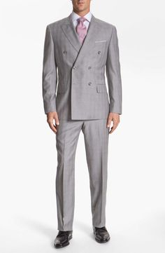 Joseph Abboud 'Platinum' Double Breasted Suit | double take | mens double breasted suit | menswear | mens fashion | mens style | grey | wantering http://www.wantering.com/mens-clothing-item/fred-mello-shirt/acfOs/