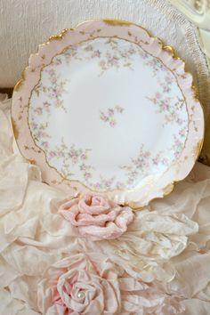 Gorgeous Antique Elite Limoges Pale Pink by Jenneliserose on Etsy . . . I <3 the pink velvet fabric flower!