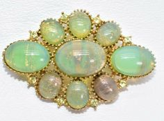 105a12913c3 Vintage SPHINX Signed Pin Brooch Green Glass Gold Glitter 1950 Estate  Jewelry #SPHINX Vintage Costume