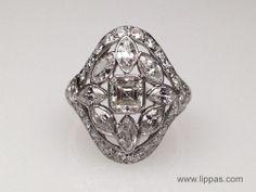 Lippa's Estate and Fine Jewelry - Platinum Edwardian Asscher Cut Diamond Engagement Ring,
