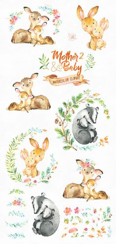 This lovely animals clipart set part 2 is just what you needed for the perfect invitations, craft projects, paper products, party decorations, printable, greetings cards, posters, stationery, scrapbooking, stickers, t-shirts, baby clothes, web designs and much more.  :::::: DETAILS ::::::  This collection includes: - 45 Images(Characters and floral elements) in separate PNG files, transparent background, size approx.: 12-2in (3600-600px)  300 dpi, RGB  First part of Mother and Baby…