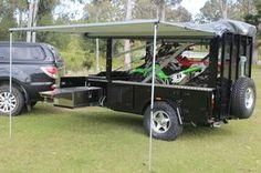 motobike camper trailer day set up
