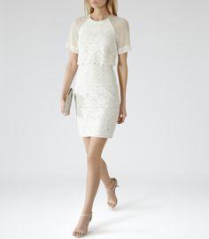 Reiss Calla Women's White Floral Overlay Dress