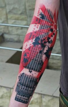 guitar by A.D.Pancho | arm tattoos | egodesigns