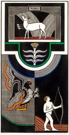 Gilvan José de Meira Lins Samico |  A caça, 2003 |  Xilogravura ed 48/120 |  92,7 x 47,5 cm |  Foto: João Liberato.