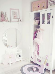 Another mirror placed low FOR THE TODDLER. Great idea! Beautiful furniture.