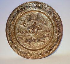 """Vintage Brass Metal Decorative Etched Metal Hammered 14"""" Horse dog Hunting"""