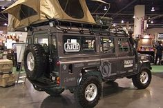 Defender 110 rooftent. Seems a bit glampy and I am certain I would fall out. However can see the logic.