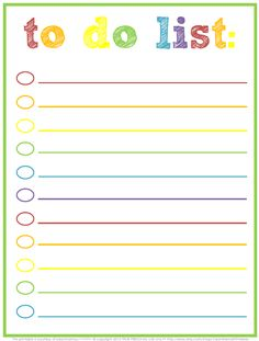 Cute (and free!) printable lists to help organize, clean, cook...