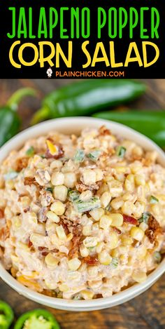 I made this for . - Hey Whats For Dinner? Corn Salad Recipes, Corn Salads, Healthy Salad Recipes, Sweet Corn Recipes, Jalapeno Poppers, Stuffed Jalapenos With Bacon, Stuffed Peppers, Side Dishes For Bbq, Sides For A Cookout