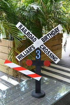 Personalized birthday Railroad Crossing Sign/Photo