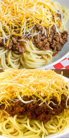 Deliciously hearty, this Cincinnati Chili is a unique chili recipe served over spaghetti and topped with cheese, onions or beans or a combination of the chili cincinnatichili skylinechili spaghetti sauce recipe tasty 835980749561828509 Chili Recipes, Meat Recipes, Mexican Food Recipes, Cooking Recipes, Healthy Recipes, Cooking Pasta, Shrimp Recipes, Easy Cooking, Fish Recipes