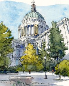 Virgin Holidays/ the idea of connecting the drawings of the most popular places … - Architecture Sketch Painting, Watercolor Sketch, Watercolor Illustration, Watercolor Paintings, Architecture Drawing Art, Watercolor Architecture, Art Inspiration Drawing, Drawing Ideas, Travel Drawing