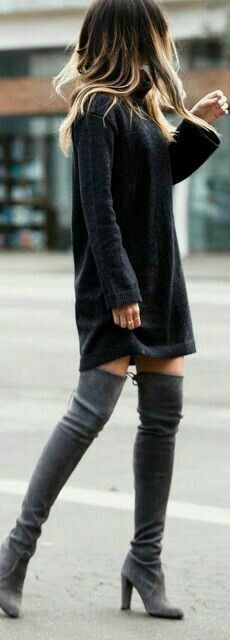 #winter #outfits black sweater, pair of gray suede thigh-high heeled boots outfit