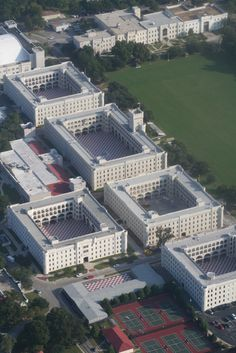 Aerial view of The Citadel Military College in Charleston, SC: from the right side, second building front row- 3rd battalion