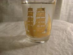 Mouse over image to zoom  Have one to sell? Sell it yourself ***-FROSTED SHOT GLASS-WITH GOLD CLIPPER SHIP ON THE SIDE-(CULVER)-***