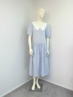Vintage 80s Blue and White Striped Drop Waist by SprightlyVogue, $59.00