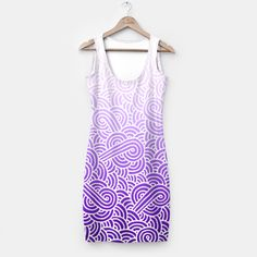 Ombre purple and white swirls doodles Simple Dress by @savousepate on Live Heroes #pattern #abstract #amethyst #mauve #lilac #lavender #purple #plum #indigo #clothing #apparel