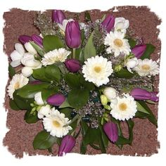 images of arrangements with tulips | Posy with gerbera and tulips""