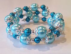Seafoam & Teal Glass Pearl Memory Wire Bracelet with Silver Plated Bead Caps and Spacer Beads