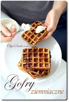 Gofry ziemniaczane Potato Waffles, Crepes And Waffles, Cake Recipes, Vegan Recipes, Cooking Recipes, Purine Diet, Gluten Free Pancakes, Food Cakes, Food Inspiration