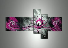 handmade 5 piece modern abstract oil painting on by GlobalArtwork