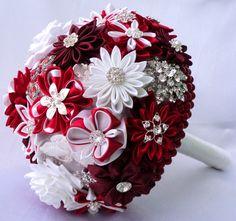 Wedding bouquet of fabric brooch bouquet Spain Red Vinous by LIKKO