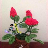 钩针编织美丽的红色月季花教程(详细)