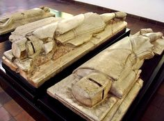 Unusual tomb effigies of Knights, c.1250, now in the on-site museum at Furness Abbey