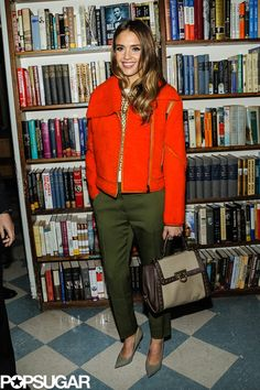Jessica Alba  orange + khaki