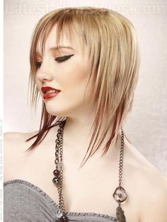 Spiky Blonde Bangs Medium length Bob hairstyle