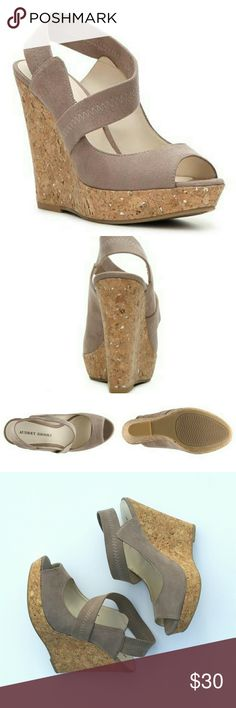 """Taupe corkscrew wedges 6 Worn around the house taupe and tan corkscrew wedges with straps. Small mark on the inside of the shoe -  won't notice it when worn!  Size 6 Heel height: 4.5"""" total Has Platform 1"""" From Audrey Brooke  Mrsp: $80 #wedges #summer #casual #date #lunch #spring #fashion #chic #lady #taupe Audrey Brooke Shoes Wedges"""