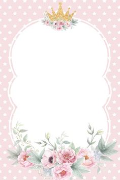 Pin by Veronica Estrada on Baby shower niña Invitation Background, Flower Invitation, Girl Birthday Decorations, Baby Frame, Flower Phone Wallpaper, Baby Unicorn, Flower Frame, Baby Cards, Watercolor Flowers