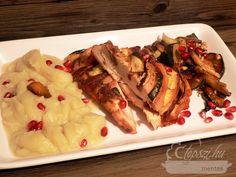 Töltött csirkemell karfiolos batátapürével Shrimp, Meat, Food, Essen, Meals, Yemek, Eten
