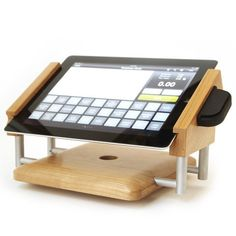 Freeform woodworks wooden ipad pos stand limited edition retail intra stand landscape ipad stand for use with shopkeep and idynamo card swiper in cherry reheart Gallery