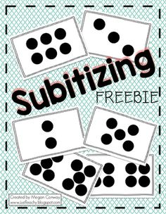 "Here is a set of subtilizing cards I made to use whole group with my class. These cards have different dot representations for the numbers 0-10. I simply hold a card up and the kids show me the number using their fingers held up in front of them. (Or sometimes we just yell out the answer!)These could also be used as ""Quick Image"" cards."