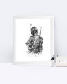 Star Wars Boba Fett Print Black and white Boba Fett art
