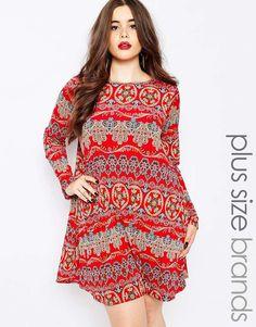 Boohoo+Plus+70's+Print+Swing+Dress